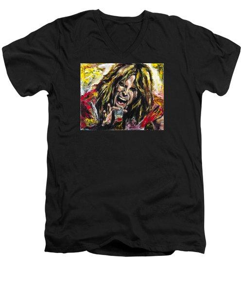 Steven Tyler Men's V-Neck T-Shirt by Mark Courage
