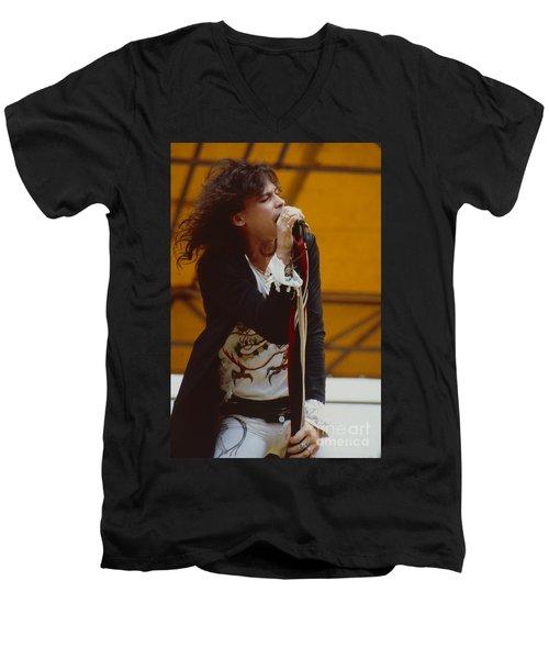 Steven Tyler Of Aerosmith At Monsters Of Rock In Oakland Ca Men's V-Neck T-Shirt by Daniel Larsen