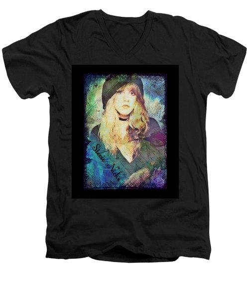 Stevie Nicks - Beret Men's V-Neck T-Shirt by Absinthe Art By Michelle LeAnn Scott