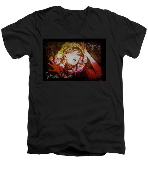 Stevie Nicks - Gypsy Men's V-Neck T-Shirt by Absinthe Art By Michelle LeAnn Scott
