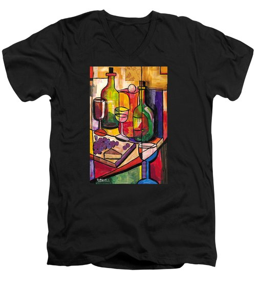 Still Life Of Fruit Wine And Cheese Men's V-Neck T-Shirt