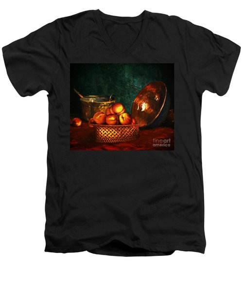 Men's V-Neck T-Shirt featuring the digital art Still Life With Peaches And Copper Bowl by Lianne Schneider