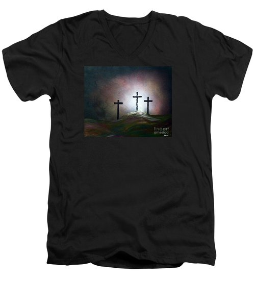 Men's V-Neck T-Shirt featuring the painting Still The Light by Eloise Schneider
