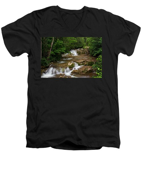 Men's V-Neck T-Shirt featuring the photograph Stockbridge Falls by Dave Files