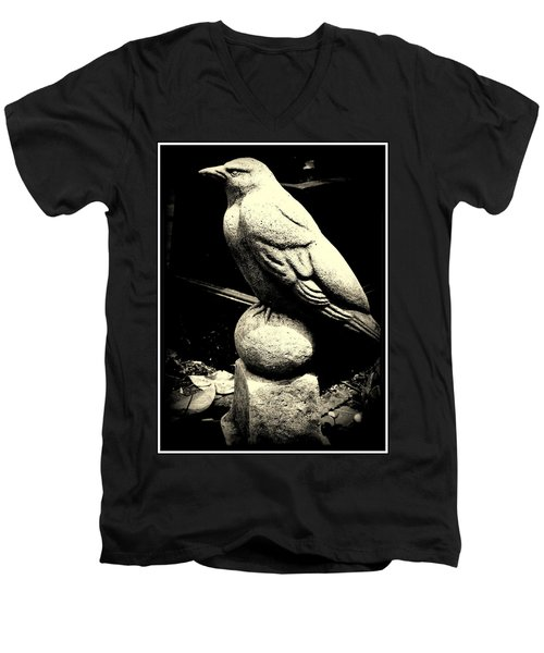 Stone Crow On Stone Ball Men's V-Neck T-Shirt by Kathy Barney