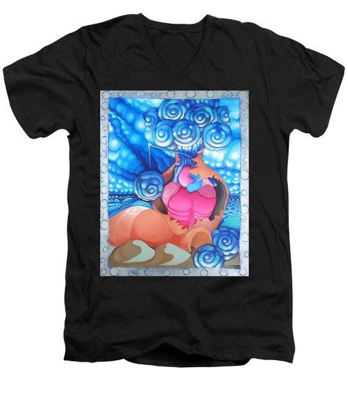 Stone Roses In Terracotta Vase Men's V-Neck T-Shirt