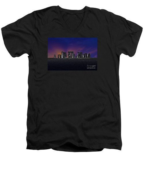 Men's V-Neck T-Shirt featuring the photograph Stonehenge Looking Moody by Terri Waters