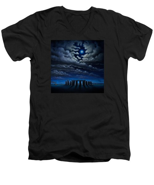 Men's V-Neck T-Shirt featuring the painting Stonehenge - The People's Circle by Ric Nagualero