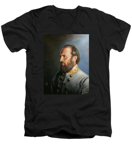 Men's V-Neck T-Shirt featuring the painting Stonewall Jackson by Glenn Beasley