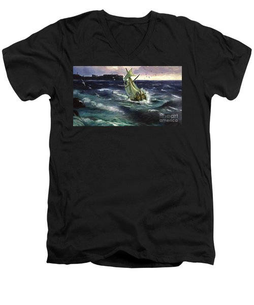 Men's V-Neck T-Shirt featuring the digital art Storm At Dubrovnik by Lianne Schneider