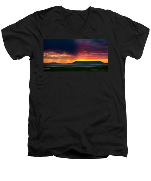 Storm Clouds Over Square Butte Men's V-Neck T-Shirt