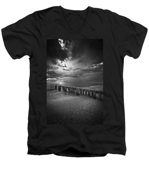 Storm Over Naples Florida Beach Men's V-Neck T-Shirt