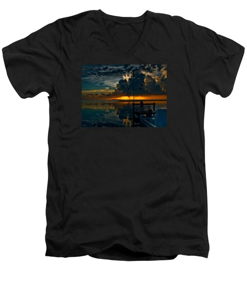 Sunset Tropical Storm And Watcher In Florida Keys Men's V-Neck T-Shirt