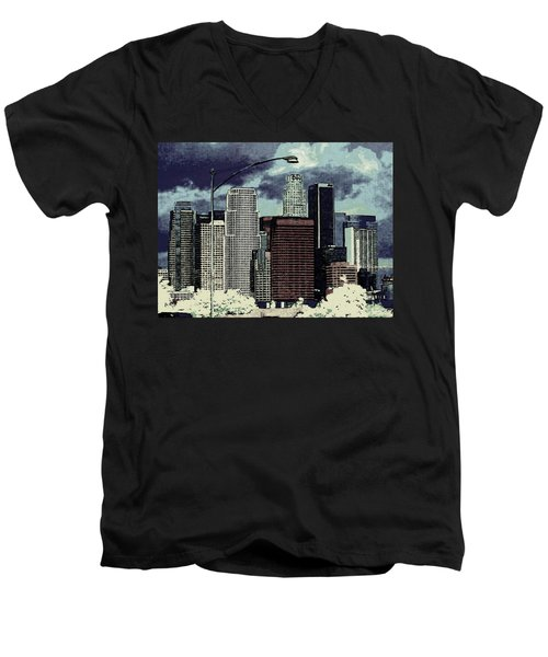 stormy Los Angeles from the freeway Men's V-Neck T-Shirt by Jodie Marie Anne Richardson Traugott          aka jm-ART