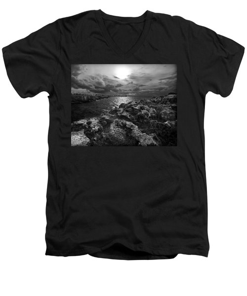 Blank And White Stormy Mediterranean Sunrise In Contrast With Black Rocks And Cliffs In Menorca  Men's V-Neck T-Shirt by Pedro Cardona