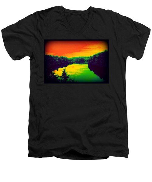 Strange River Scene Men's V-Neck T-Shirt