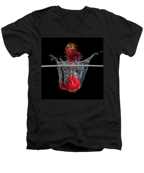 Strawberries Splashing In Water Men's V-Neck T-Shirt