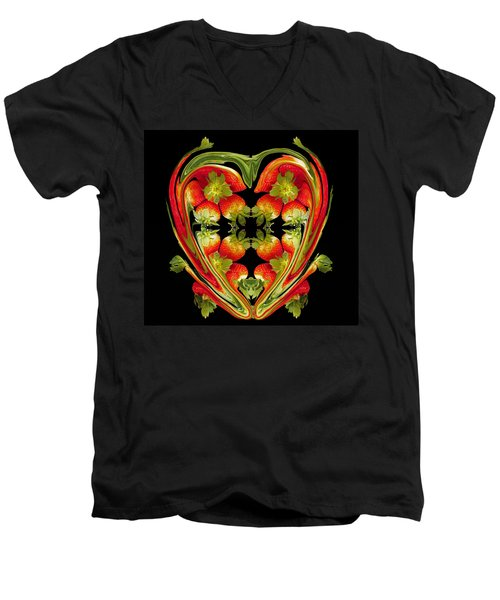 Strawberry Heart Men's V-Neck T-Shirt
