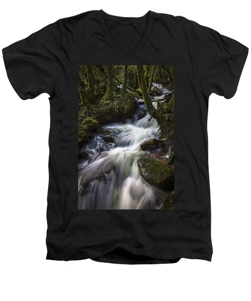 Men's V-Neck T-Shirt featuring the photograph Stream On Eume River Galicia Spain by Pablo Avanzini