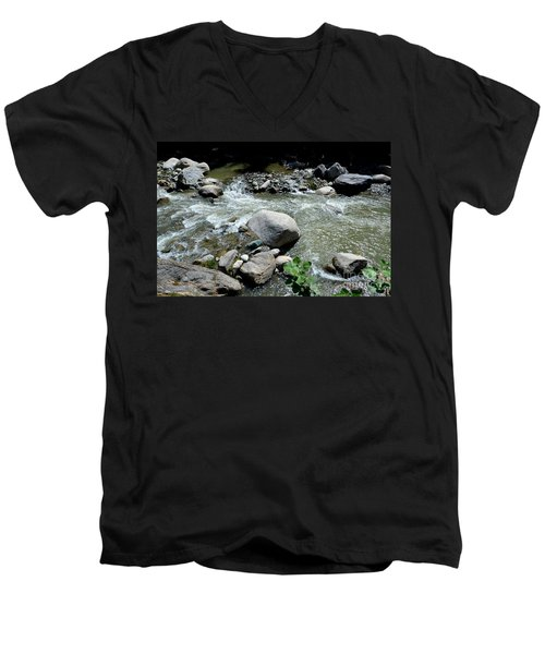 Men's V-Neck T-Shirt featuring the photograph Stream Water Foams And Rushes Past Boulders by Imran Ahmed