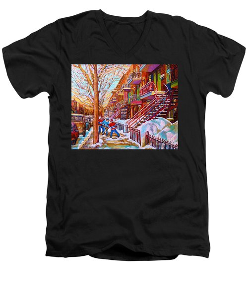 Street Hockey Game In Montreal Winter Scene With Winding Staircases Painting By Carole Spandau Men's V-Neck T-Shirt
