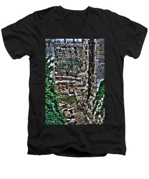 Men's V-Neck T-Shirt featuring the photograph Street In Jerusalem by Doc Braham