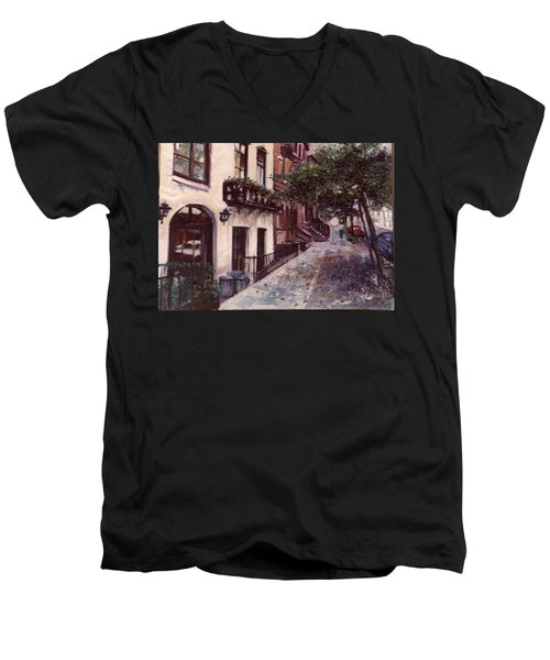 Men's V-Neck T-Shirt featuring the painting street in the Village NYC by Walter Casaravilla