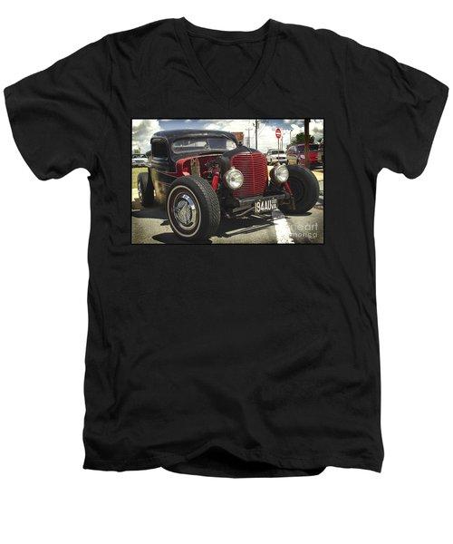 Street Rod Truck Men's V-Neck T-Shirt by James C Thomas