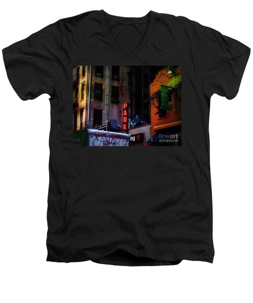 Graffiti And Grand Old Buildings Men's V-Neck T-Shirt by Miriam Danar