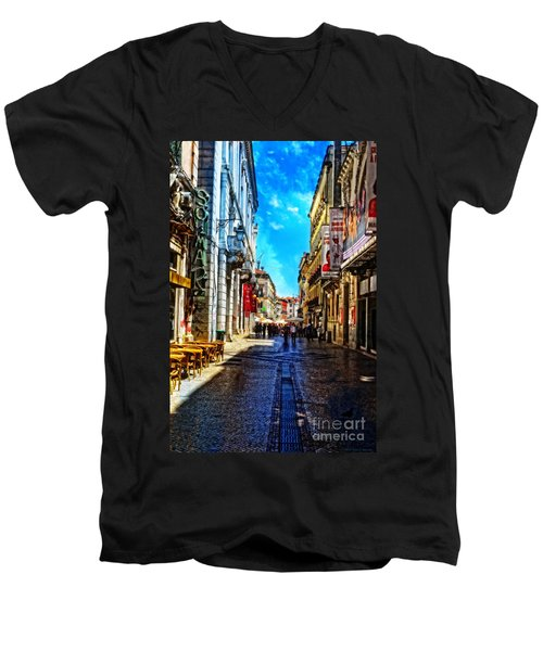 Streets Of Lisbon 1 Men's V-Neck T-Shirt by Mary Machare