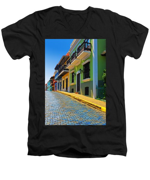 Streets Of Old San Juan Men's V-Neck T-Shirt