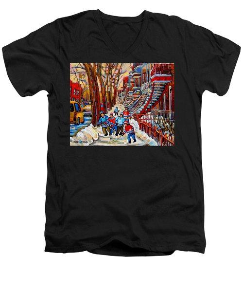 Streets Of Verdun Hockey Art Montreal Street Scene With Outdoor Winding Staircases Men's V-Neck T-Shirt