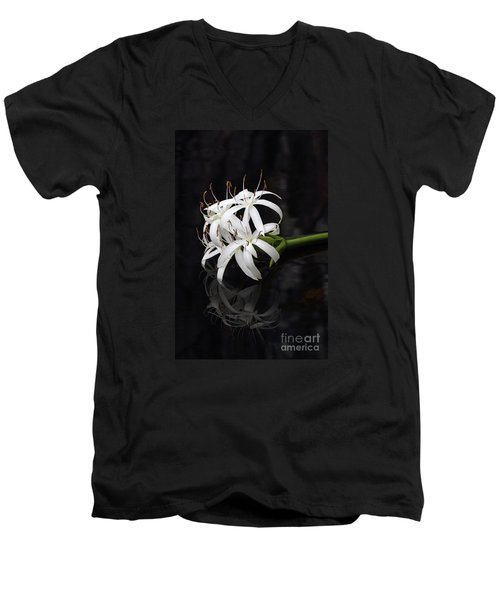 Men's V-Neck T-Shirt featuring the photograph String Lily #1 by Paul Rebmann