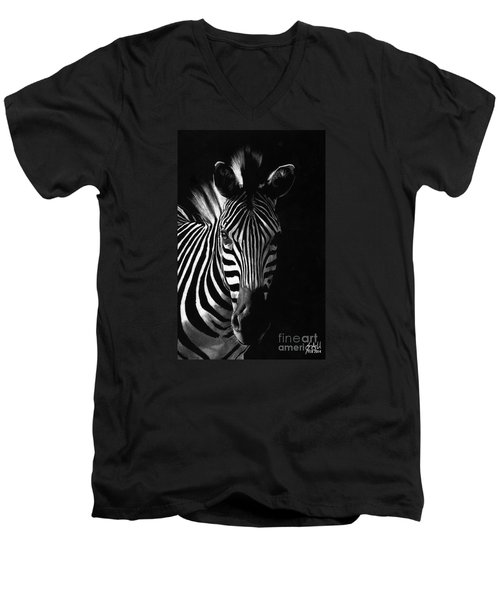 Striped Beauty Men's V-Neck T-Shirt by Sheryl Unwin