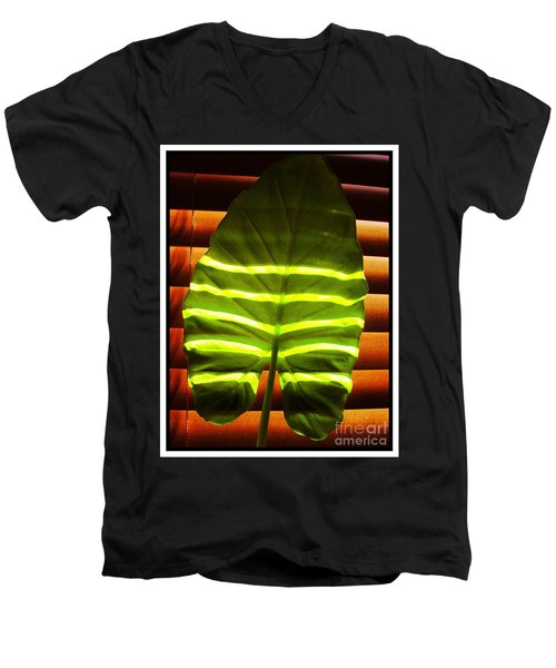 Men's V-Neck T-Shirt featuring the photograph Stripes Of Light by Nina Ficur Feenan