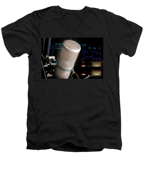 Men's V-Neck T-Shirt featuring the photograph Studio Microphone And Recording Gear by Gunter Nezhoda