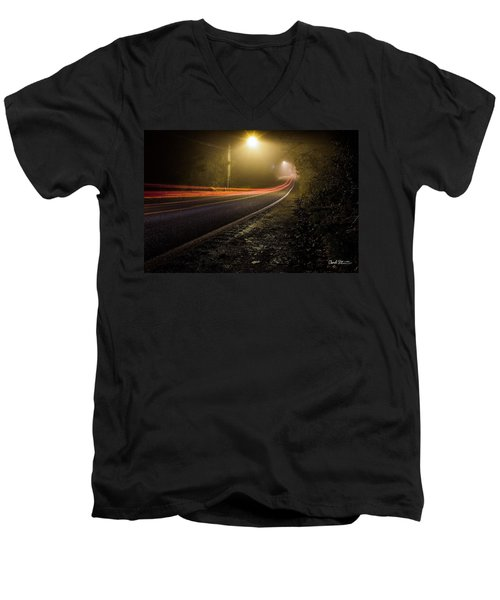 Suburbian Night Men's V-Neck T-Shirt by Charlie Duncan