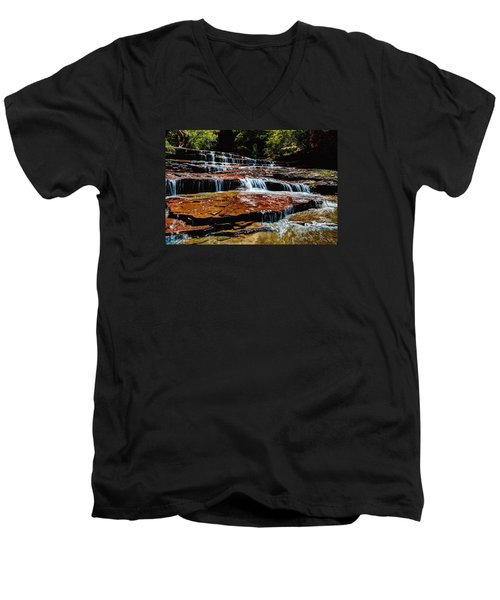 Subway Falls Men's V-Neck T-Shirt by Chad Dutson