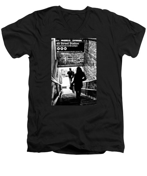 Subway Shadows Men's V-Neck T-Shirt by Karol Livote