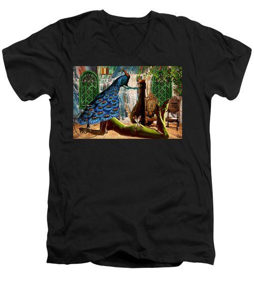 Men's V-Neck T-Shirt featuring the painting Suck My Peacock by Ally  White