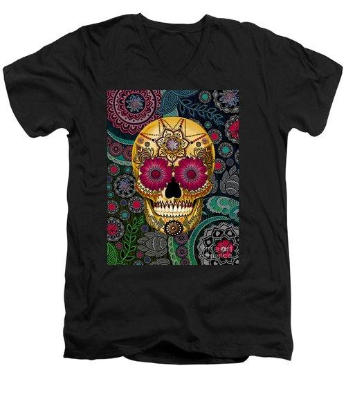 Sugar Skull Paisley Garden - Copyrighted Men's V-Neck T-Shirt