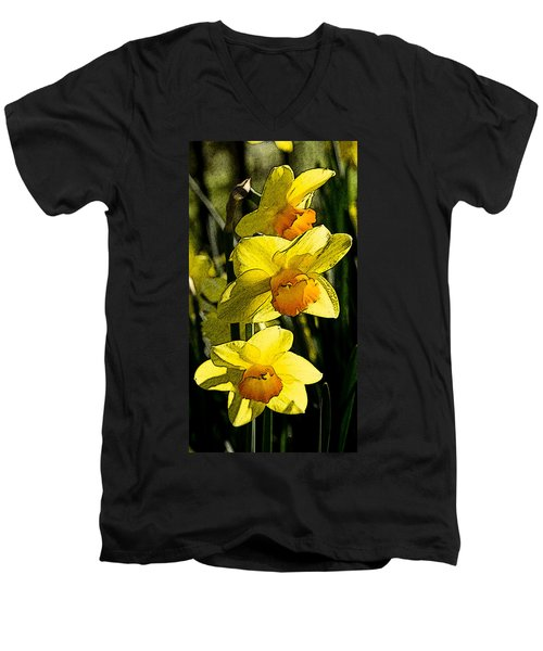 Sumi-e In Yellow Men's V-Neck T-Shirt