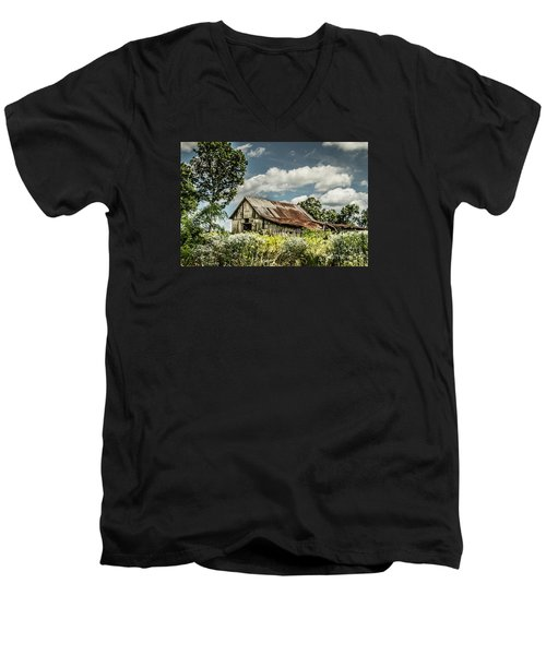 Men's V-Neck T-Shirt featuring the photograph Summer Barn by Debbie Green