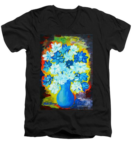 Men's V-Neck T-Shirt featuring the painting Summer Daisies by Ramona Matei