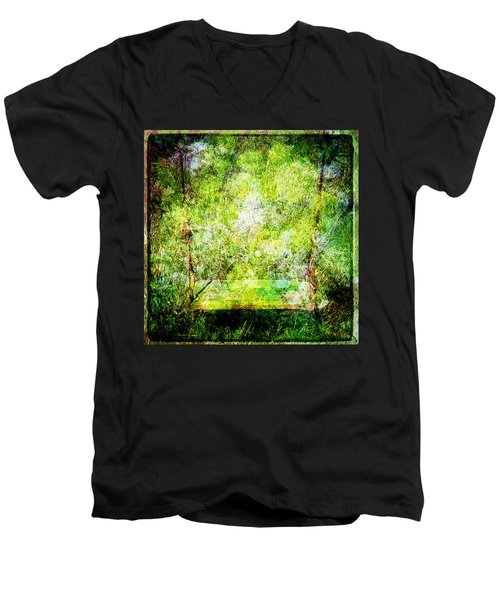 Men's V-Neck T-Shirt featuring the mixed media Summer Days Of Yore #1 by Sandy MacGowan