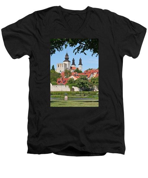 Summer Green Medieval Town Men's V-Neck T-Shirt