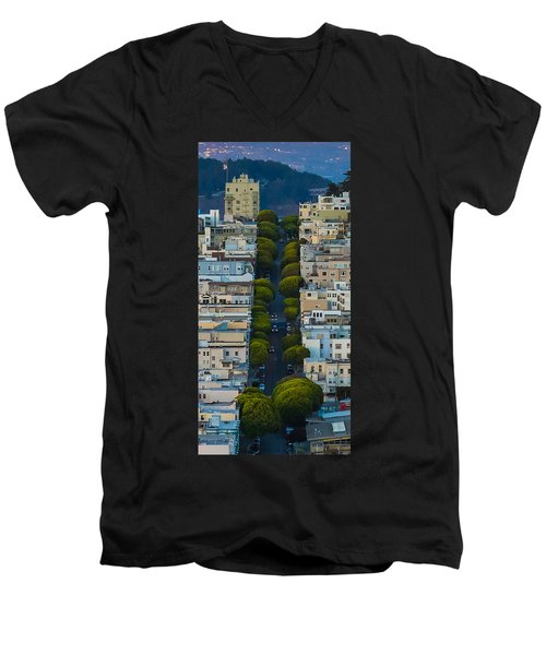 Summer Green On Lombard Street Men's V-Neck T-Shirt