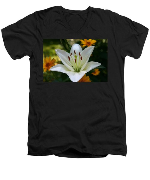 Men's V-Neck T-Shirt featuring the photograph Summer Lily by Denyse Duhaime
