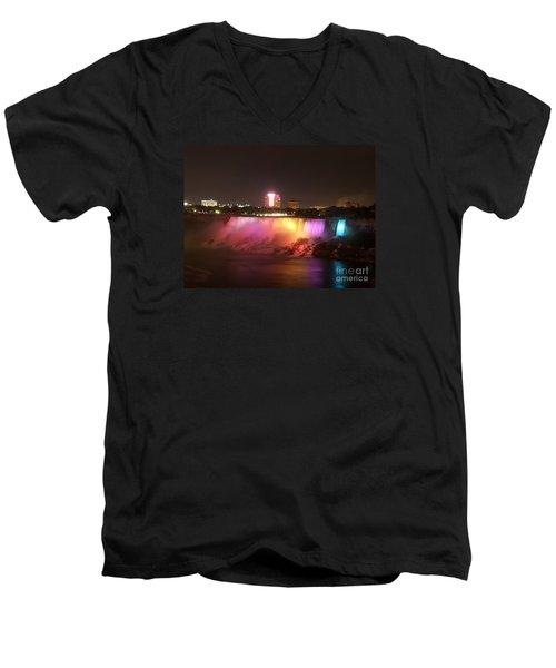 Summer Night In Niagara Falls Men's V-Neck T-Shirt