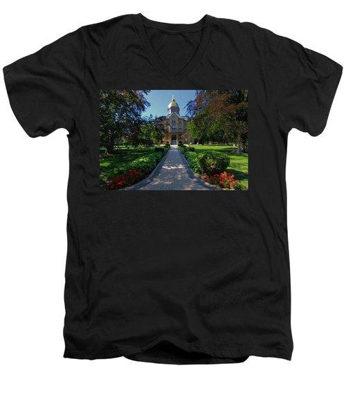 Summer On Notre Dame Campus Men's V-Neck T-Shirt